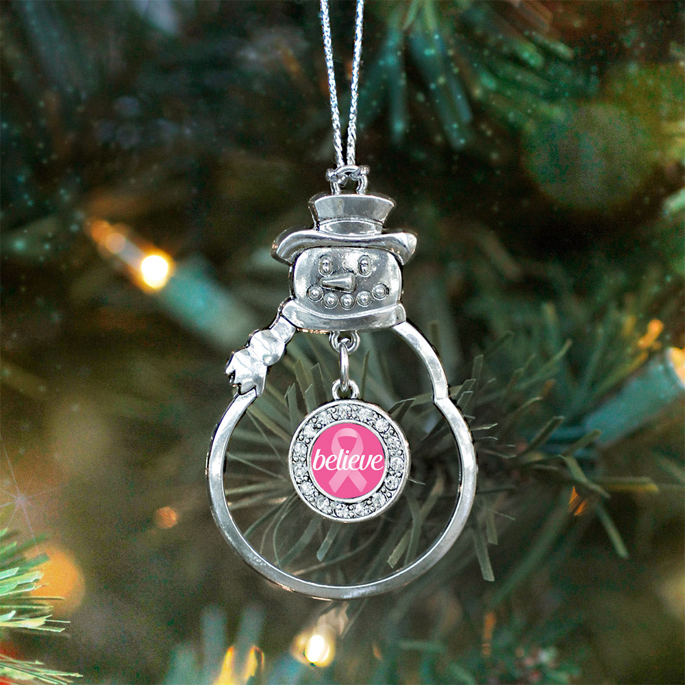 Believe Ribbon Breast Cancer Awareness Circle Charm Christmas / Holiday Ornament