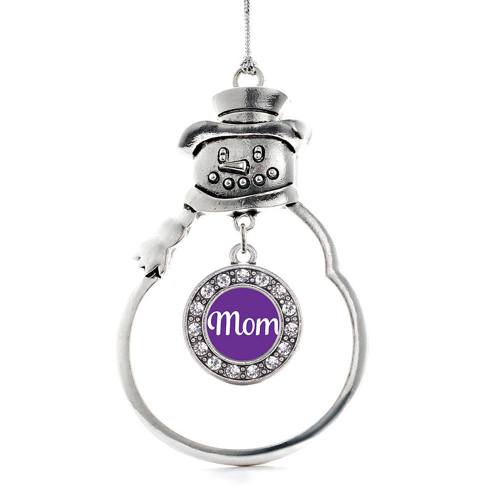 Mom Purple Circle Charm Christmas / Holiday Ornament