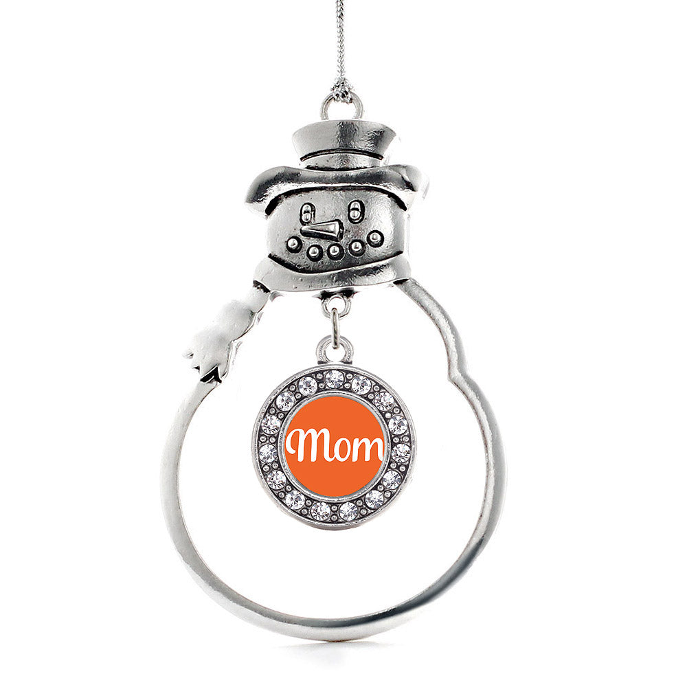 Mom Orange Circle Charm Christmas / Holiday Ornament