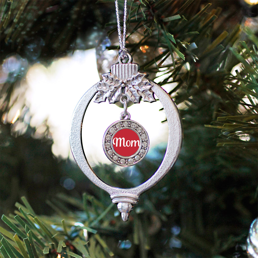 Mom Red Circle Charm Christmas / Holiday Ornament
