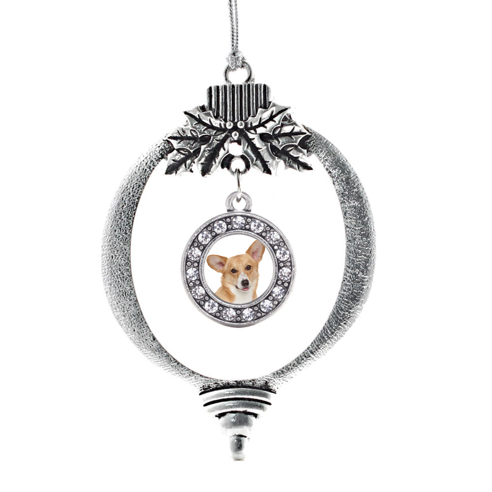 Corgi Face Circle Charm Christmas / Holiday Ornament