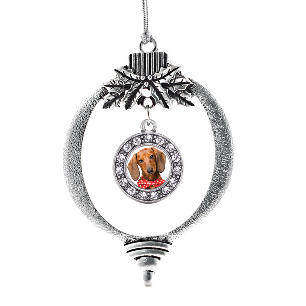 Dachshund Face Circle Charm Christmas / Holiday Ornament