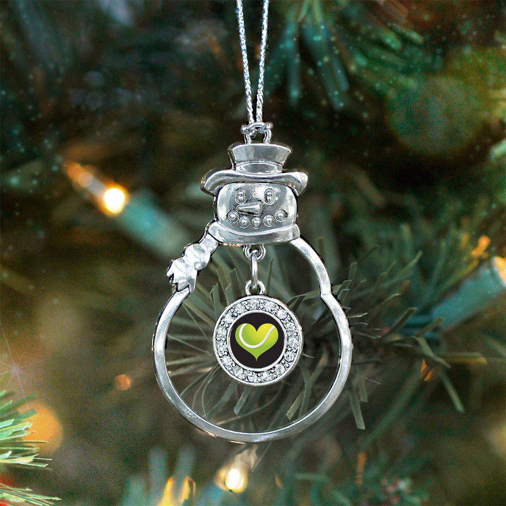 Heart of a Tennis Player Circle Charm Christmas / Holiday Ornament