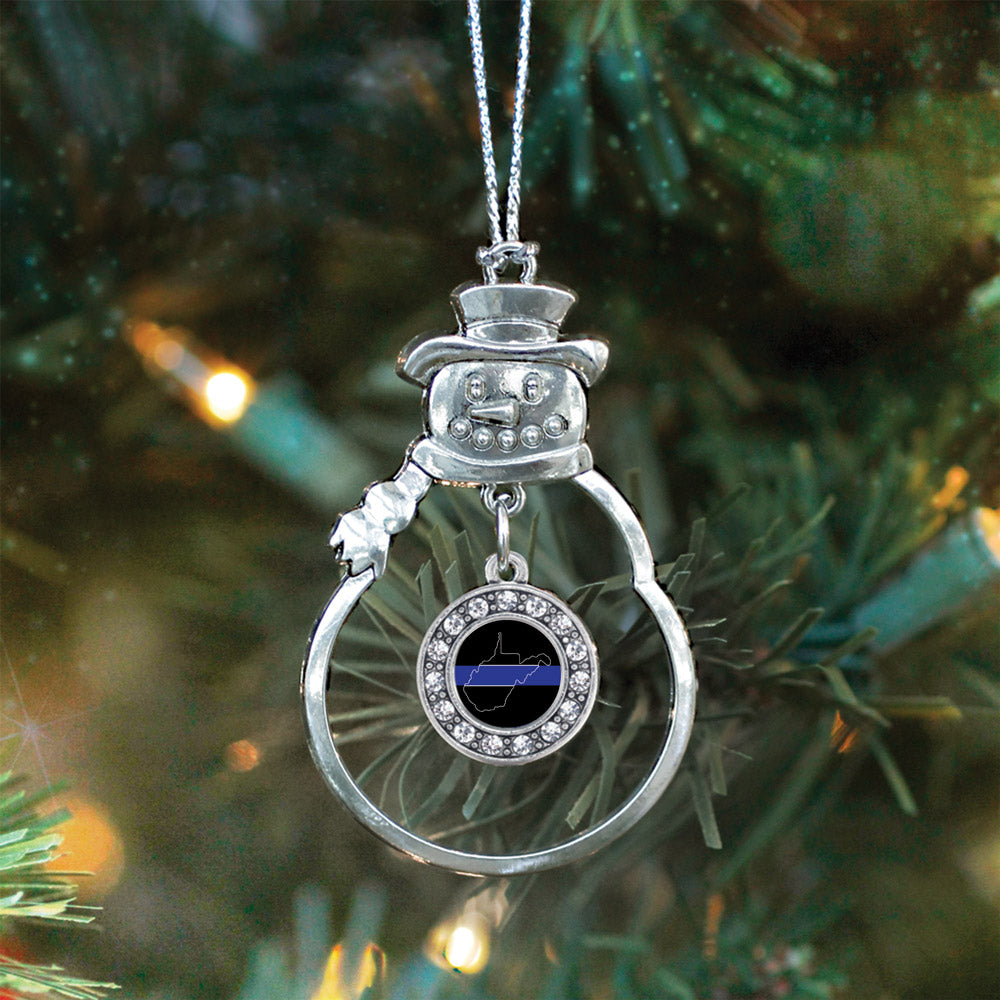 West Virginia Thin Blue Line Circle Charm Christmas / Holiday Ornament