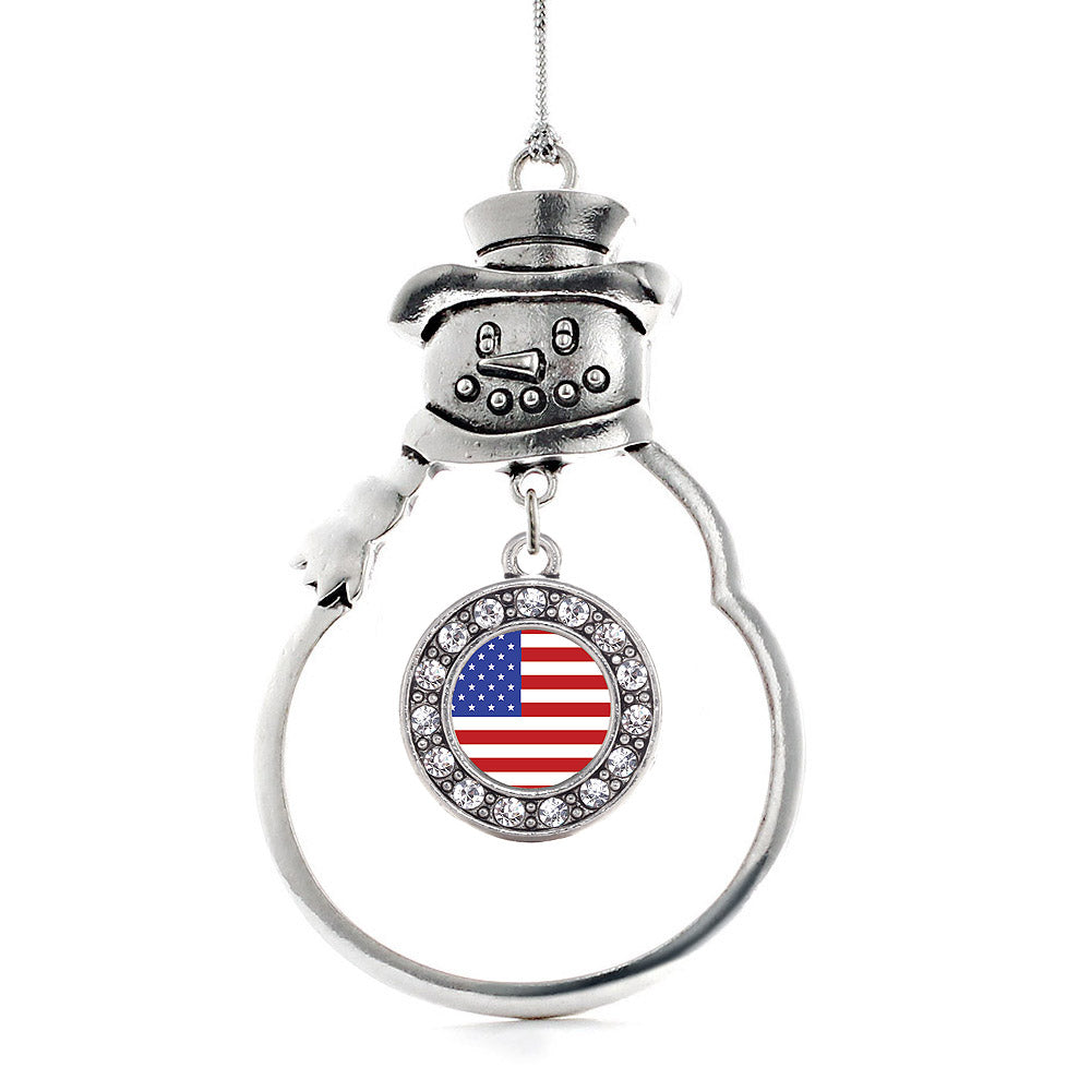 American Flag Circle Charm Christmas / Holiday Ornament