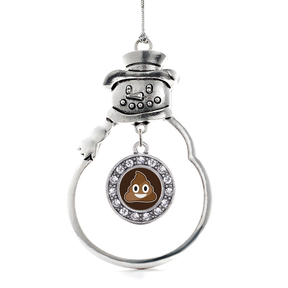 Poop Emoji Circle Charm Christmas / Holiday Ornament