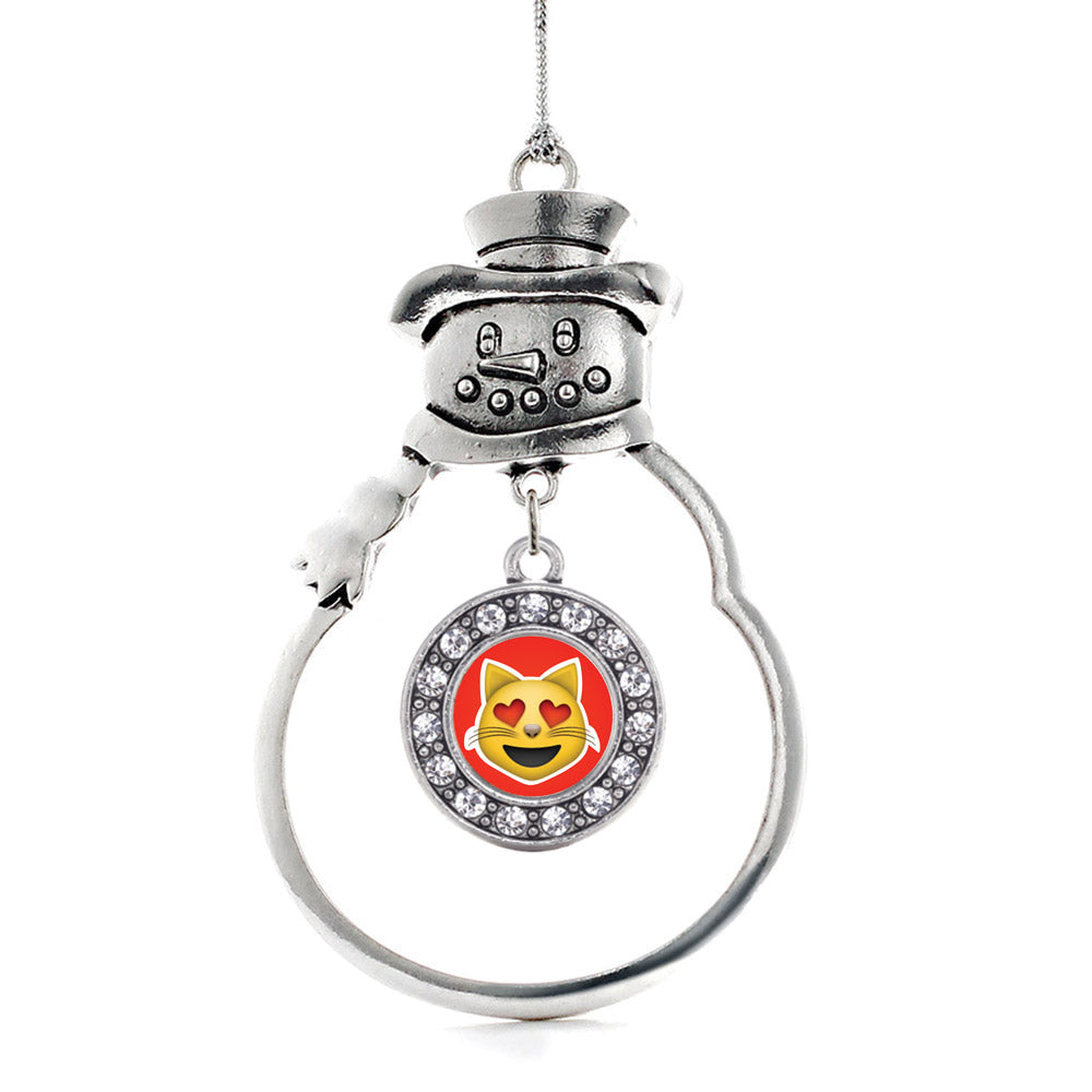 Cat Heart Emoji Circle Charm Christmas / Holiday Ornament