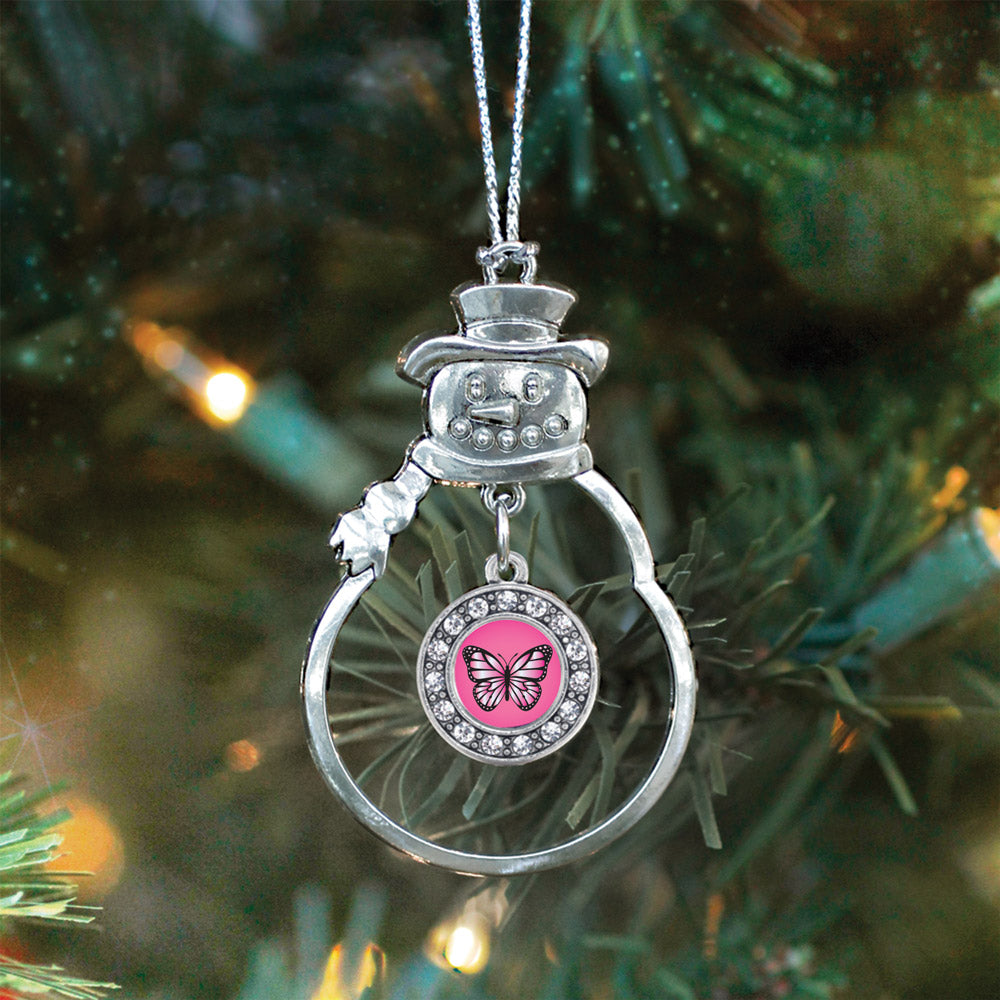 Pink Butterfly Circle Charm Christmas / Holiday Ornament