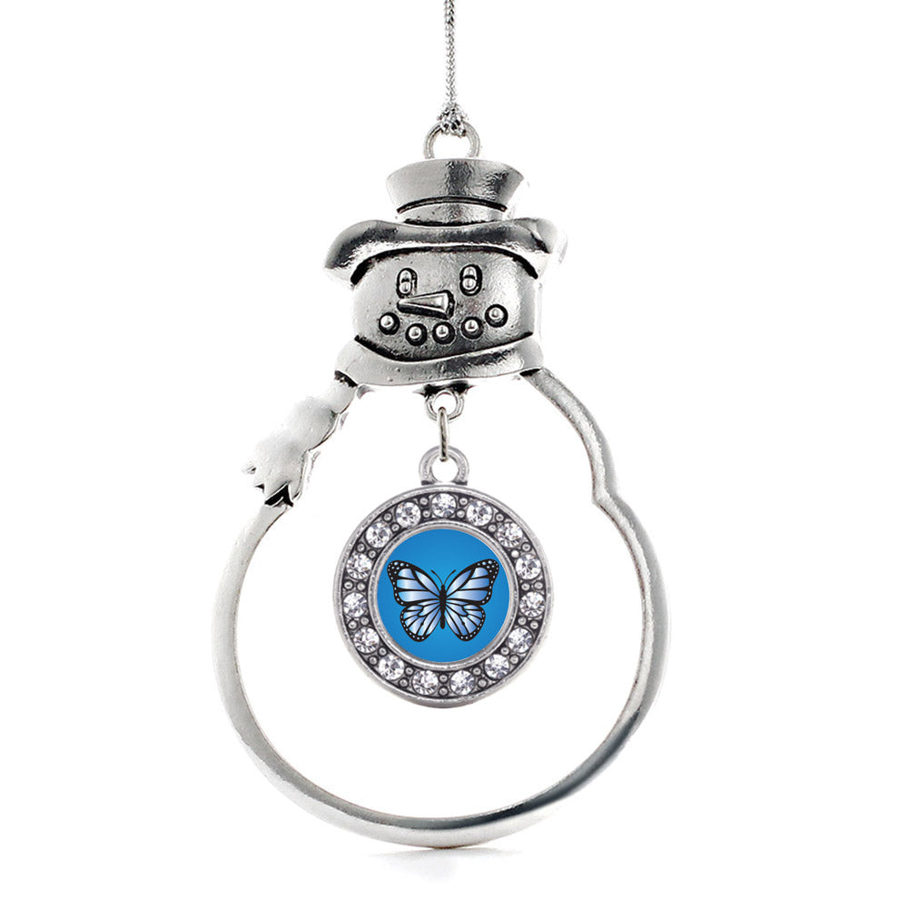 Azure Butterfly Circle Charm Christmas / Holiday Ornament