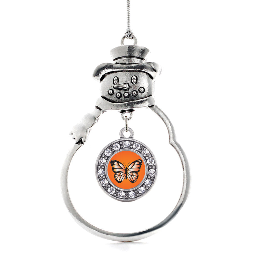 Orange Butterfly Circle Charm Christmas / Holiday Ornament