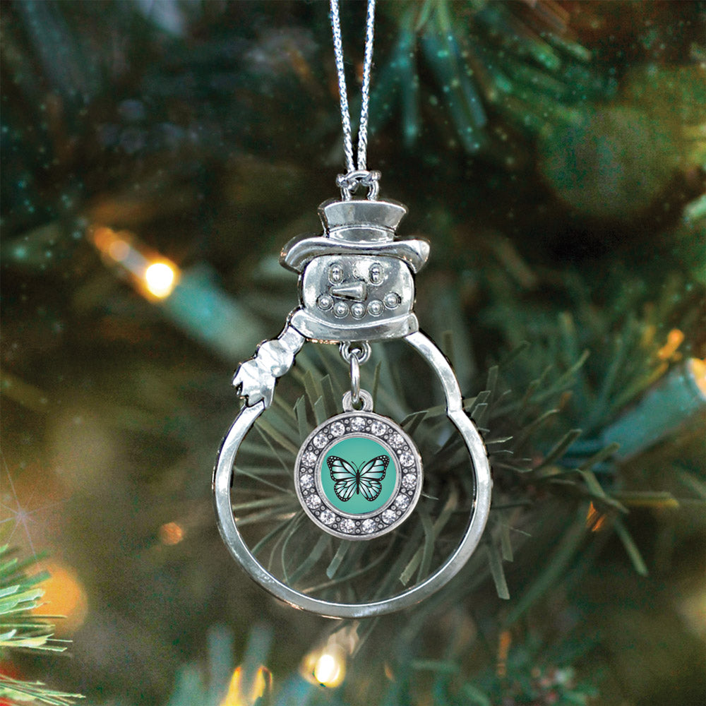 Teal Butterfly Circle Charm Christmas / Holiday Ornament