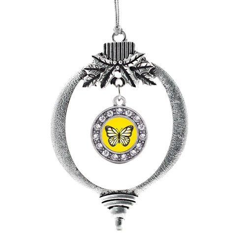 Yellow Butterfly Circle Charm Christmas / Holiday Ornament