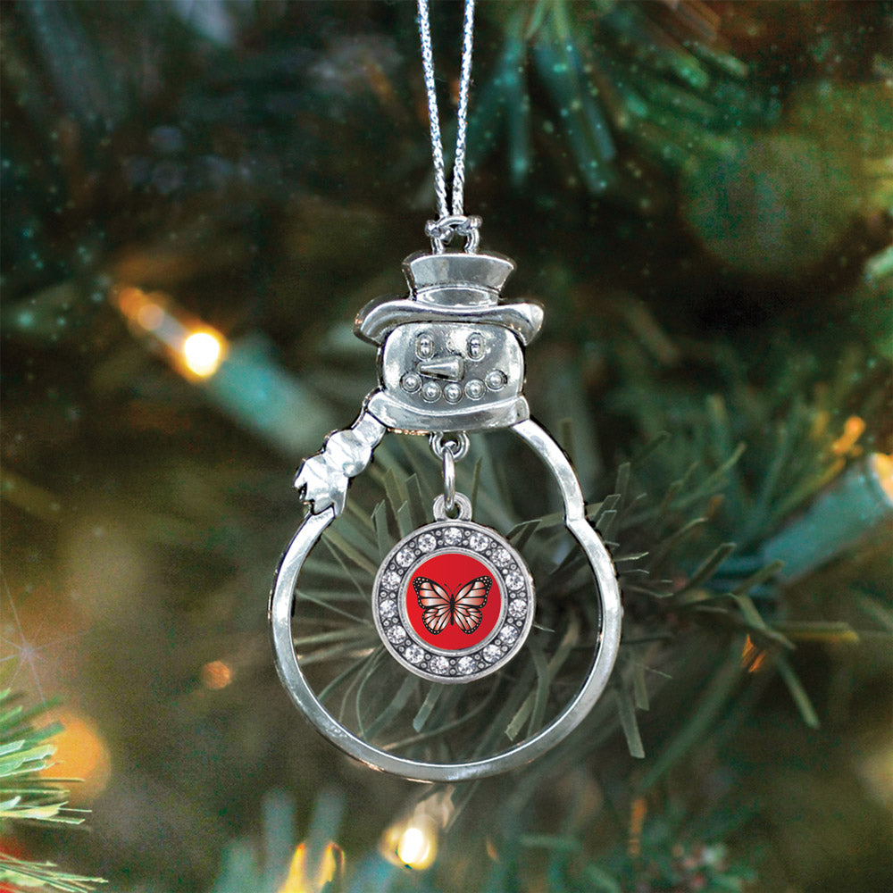 Red Butterfly Circle Charm Christmas / Holiday Ornament