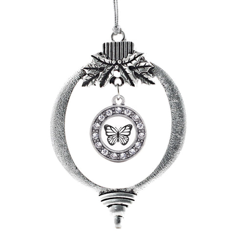 White Butterfly Circle Charm Christmas / Holiday Ornament