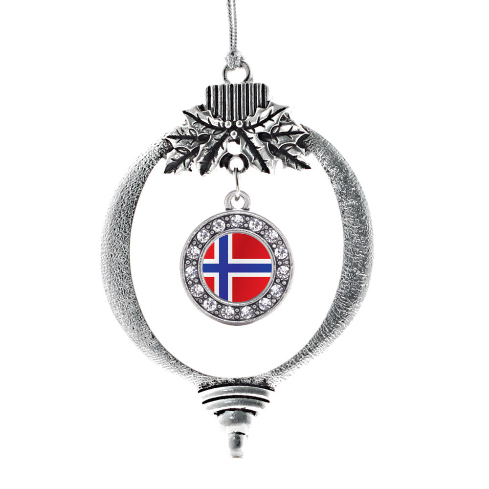Norway Flag Circle Charm Christmas / Holiday Ornament