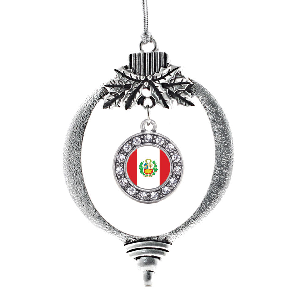 Peru Flag Circle Charm Christmas / Holiday Ornament