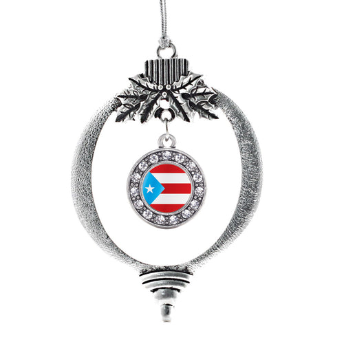 Puerto Rico Flag Circle Charm Christmas / Holiday Ornament