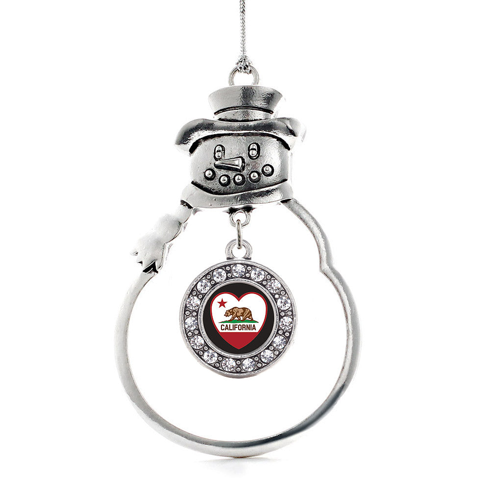 California Heart Flag Circle Charm Christmas / Holiday Ornament
