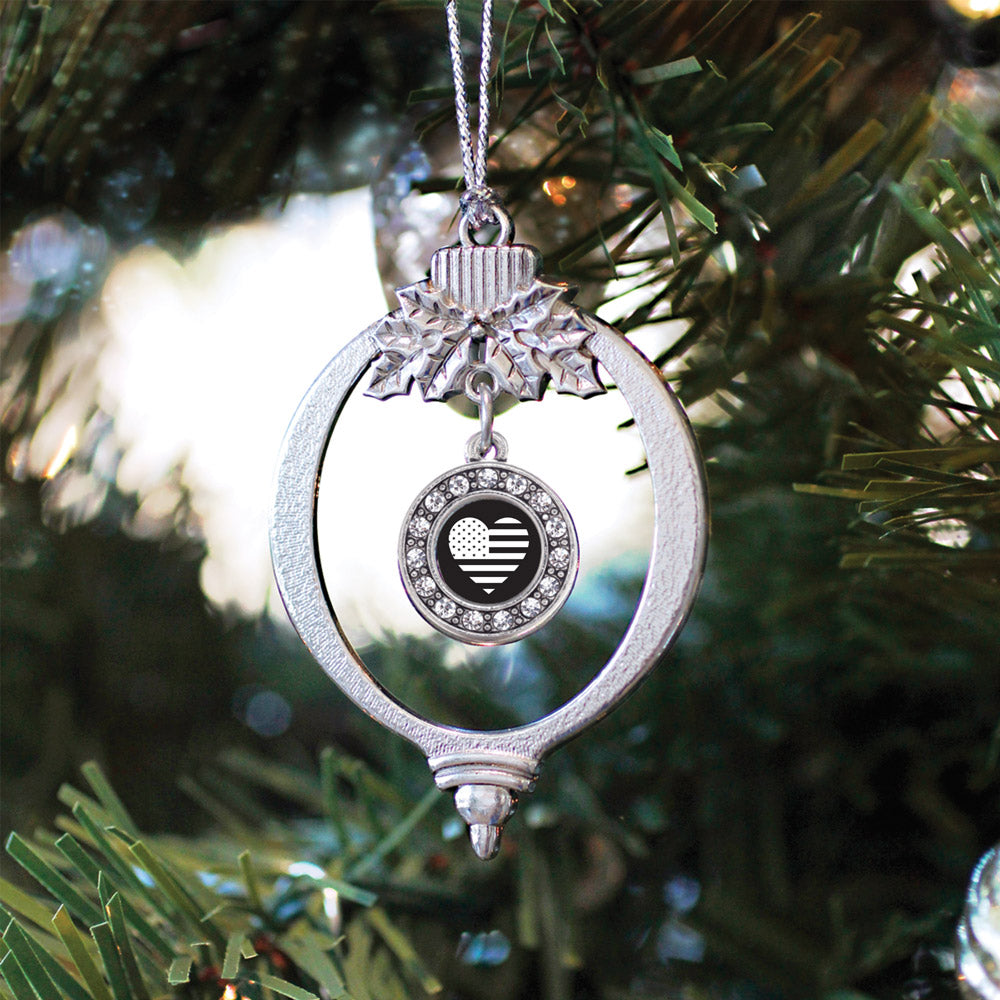 Black and White American Flag Circle Charm Christmas / Holiday Ornament