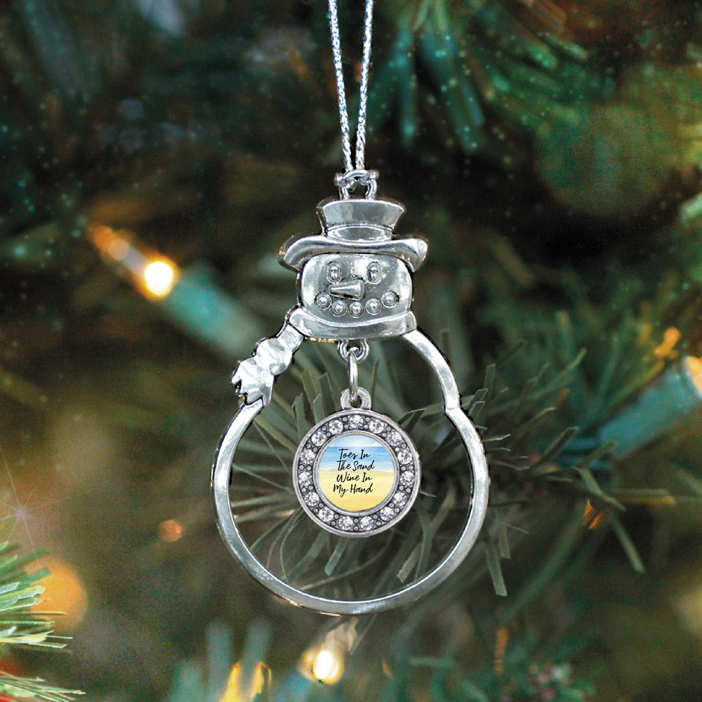 Toes In The Sand, Wine In My Hand Circle Charm Christmas / Holiday Ornament