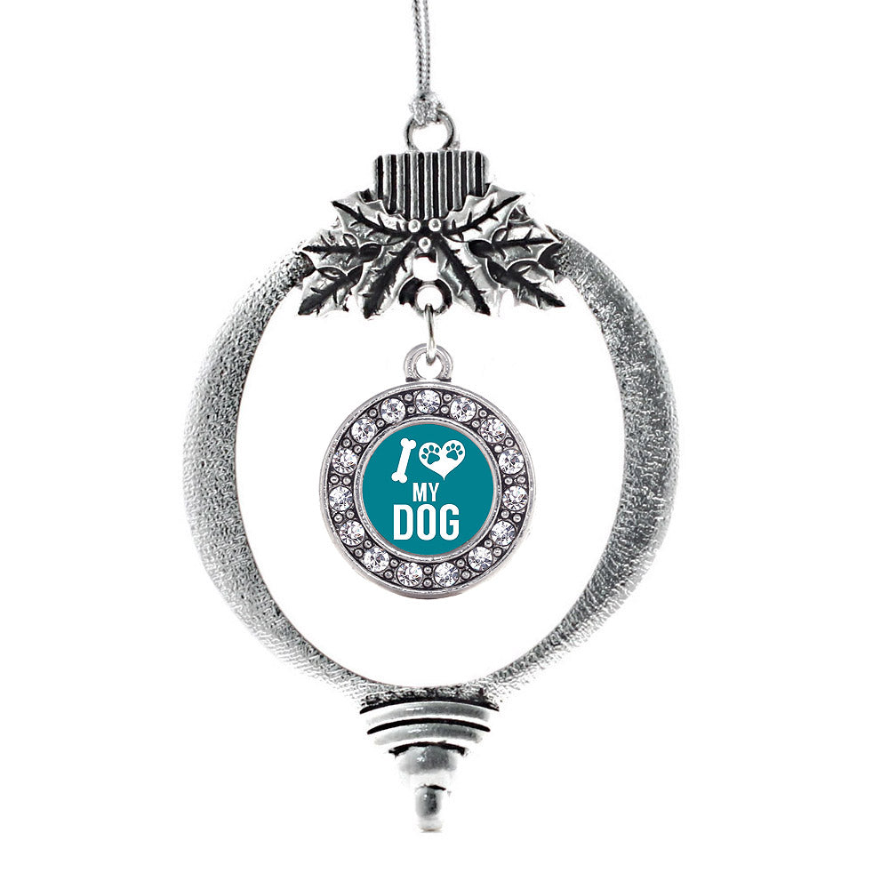 I Love My Dog Circle Charm Christmas / Holiday Ornament