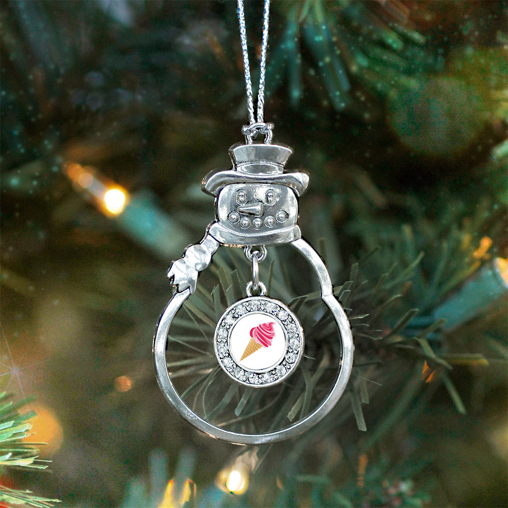 Ice Cream Cone Lovers Circle Charm Christmas / Holiday Ornament