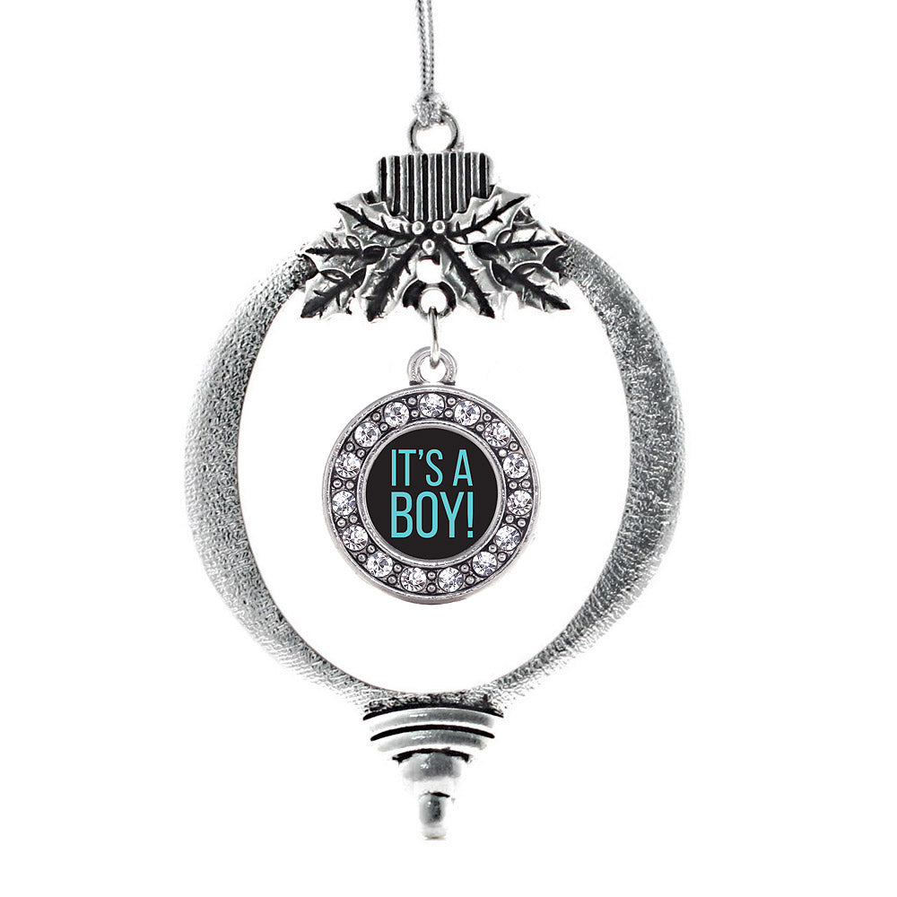 It's a Boy Circle Charm Christmas / Holiday Ornament