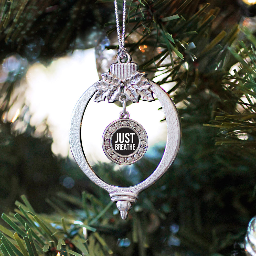 Just Breathe Black Circle Charm Christmas / Holiday Ornament