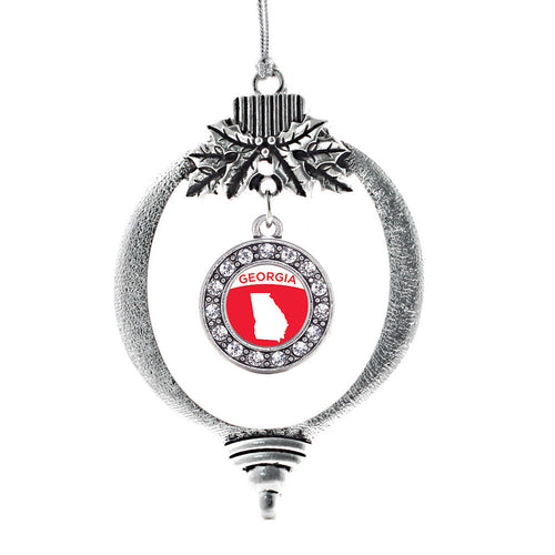 Georgia Outline Circle Charm Christmas / Holiday Ornament