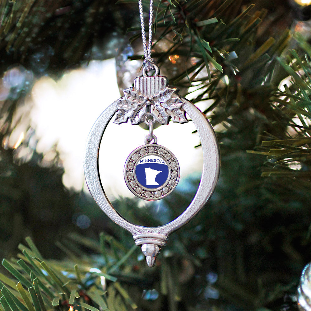 Minnesota Outline Circle Charm Christmas / Holiday Ornament