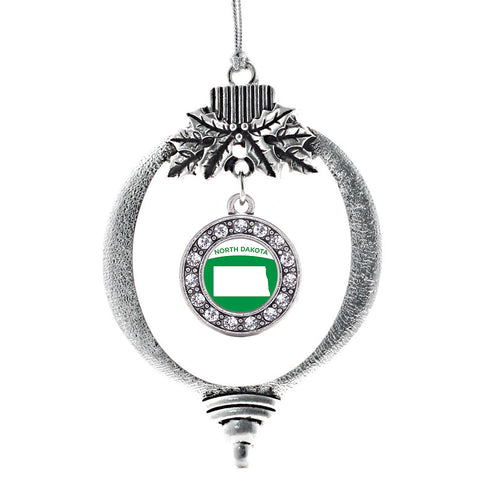 North Dakota Outline Circle Charm Christmas / Holiday Ornament