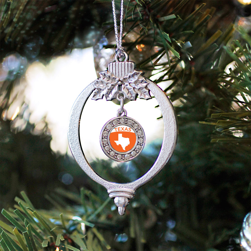 Texas Outline Circle Charm Christmas / Holiday Ornament