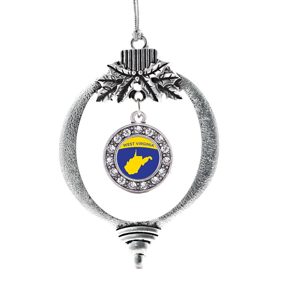 West Virginia Outline Circle Charm Christmas / Holiday Ornament