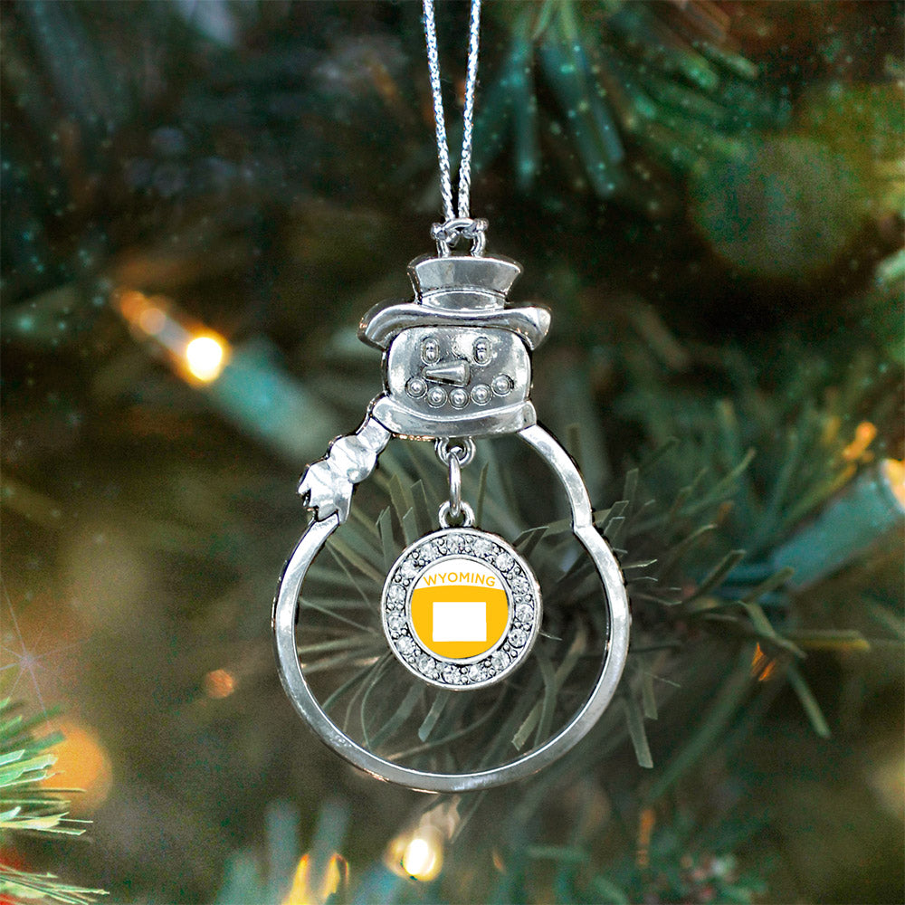 Wyoming Outline Circle Charm Christmas / Holiday Ornament