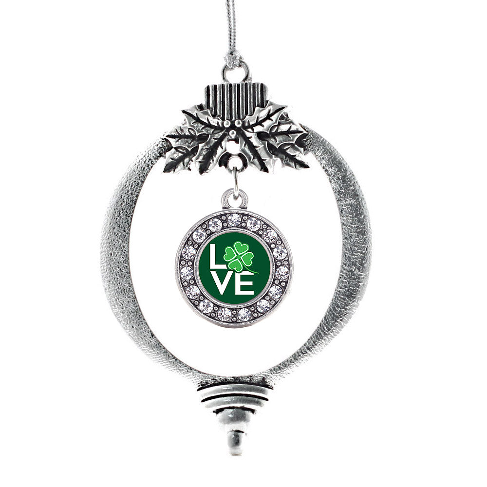 Lucky Clover of Love Circle Charm Christmas / Holiday Ornament