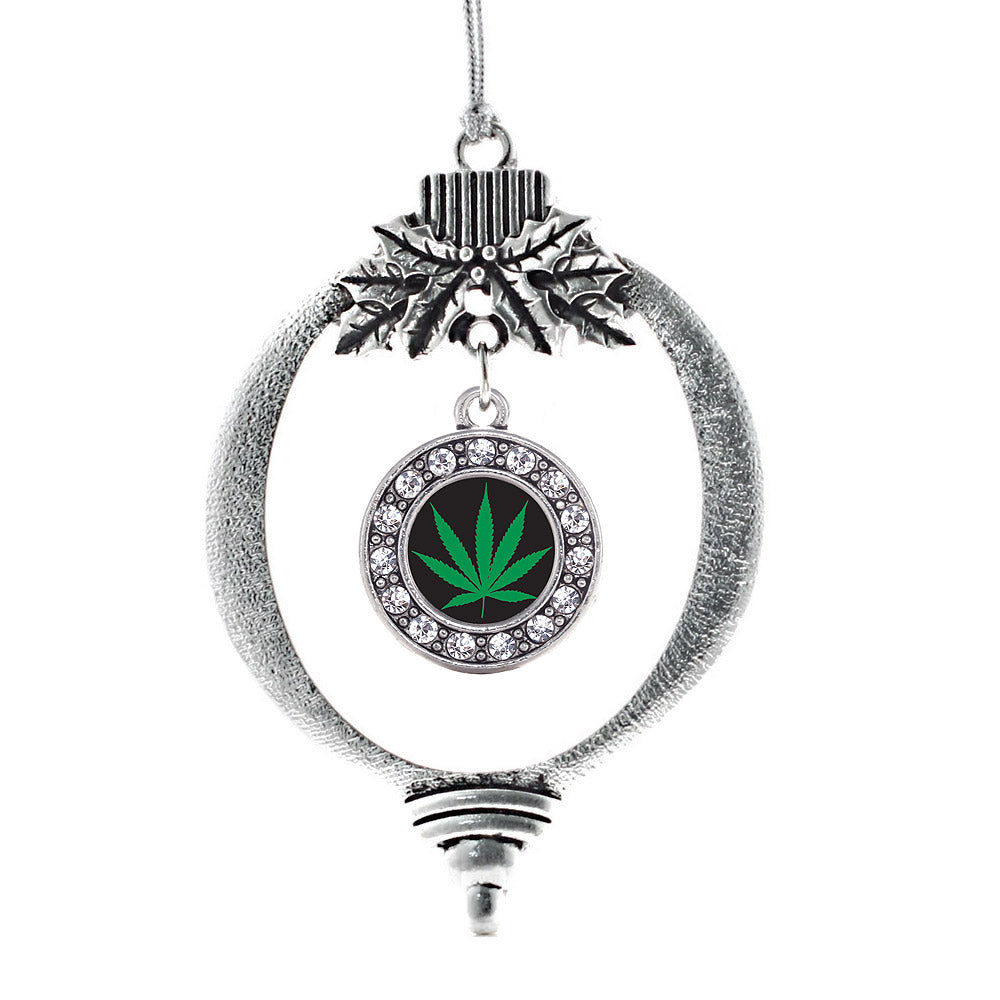Marijuana Leaf Circle Charm Christmas / Holiday Ornament