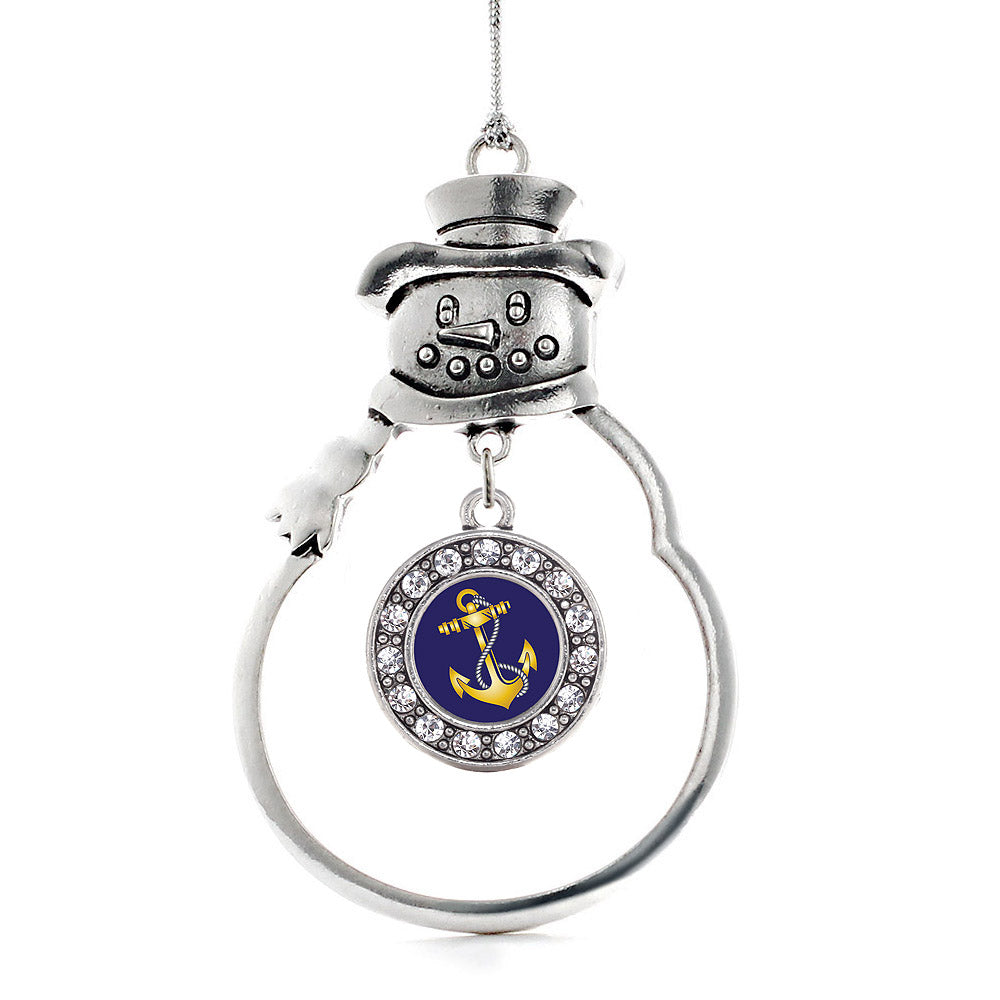 Navy Anchor Circle Charm Christmas / Holiday Ornament