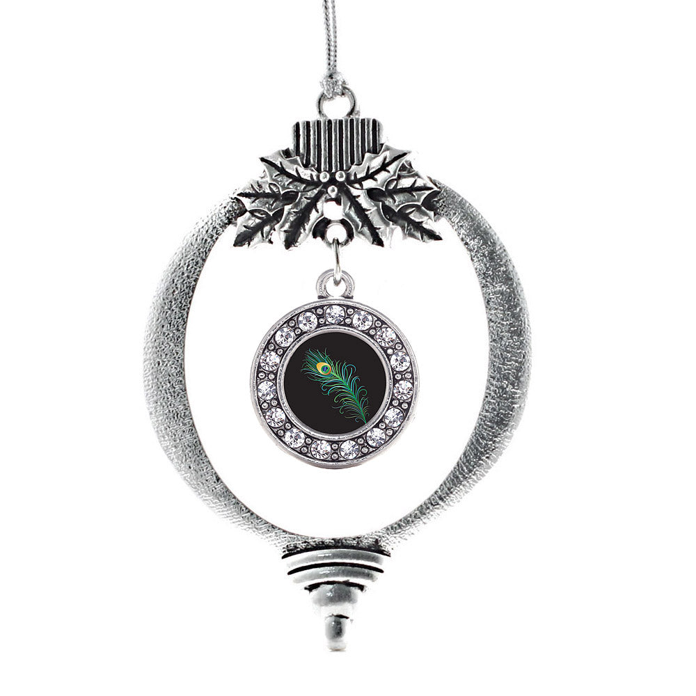 Peacock Feather Circle Charm Christmas / Holiday Ornament
