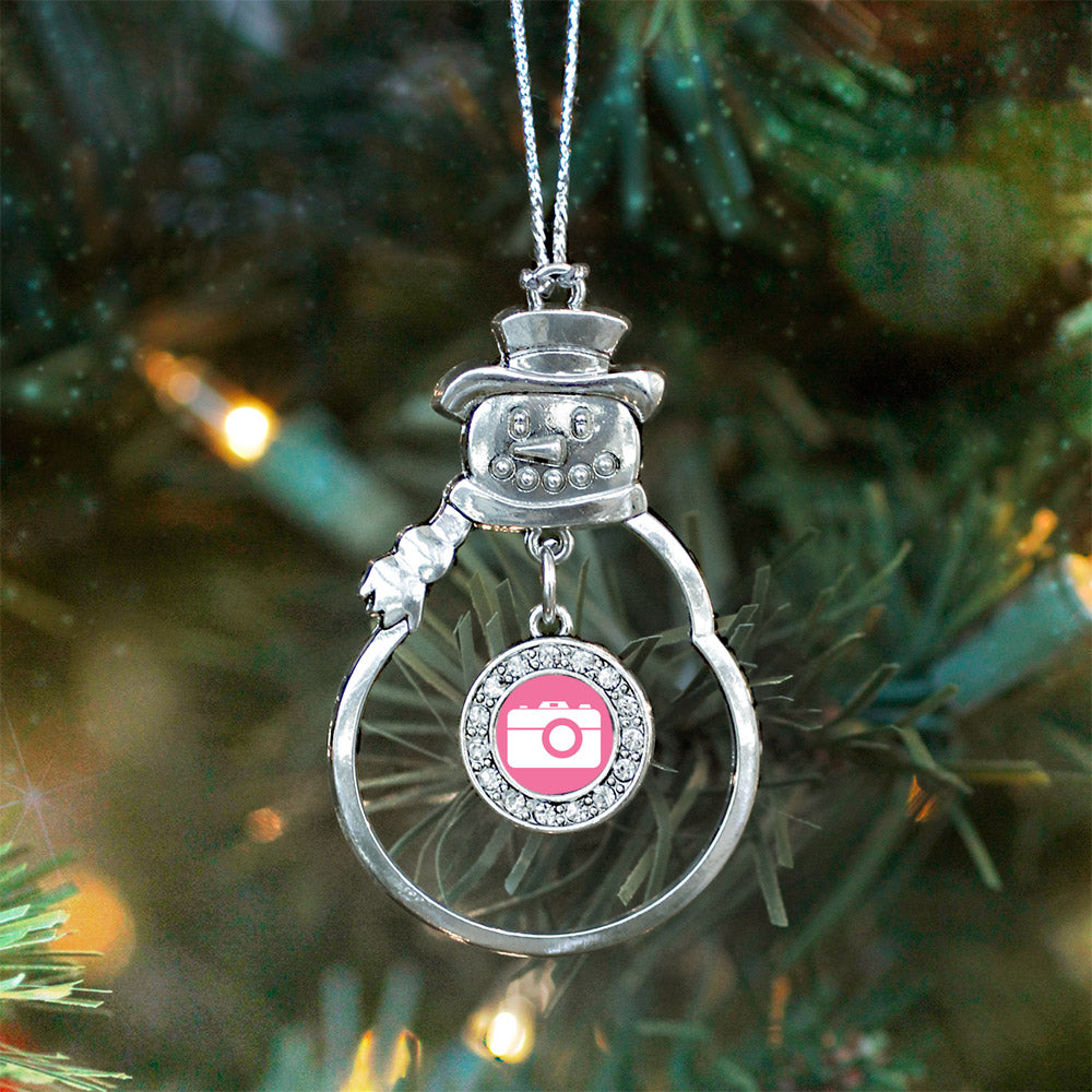 Pink Camera Circle Charm Christmas / Holiday Ornament