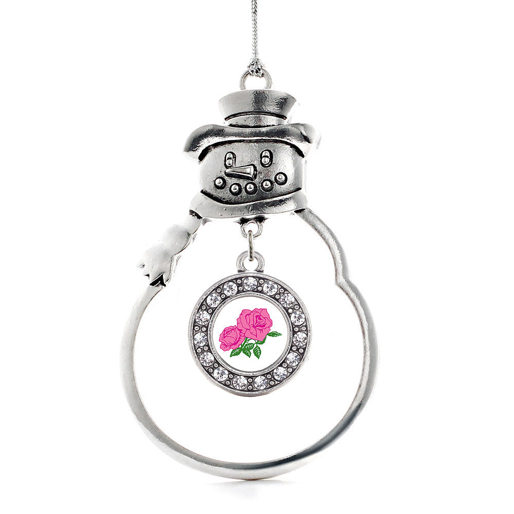 Pink Rose Circle Charm Christmas / Holiday Ornament