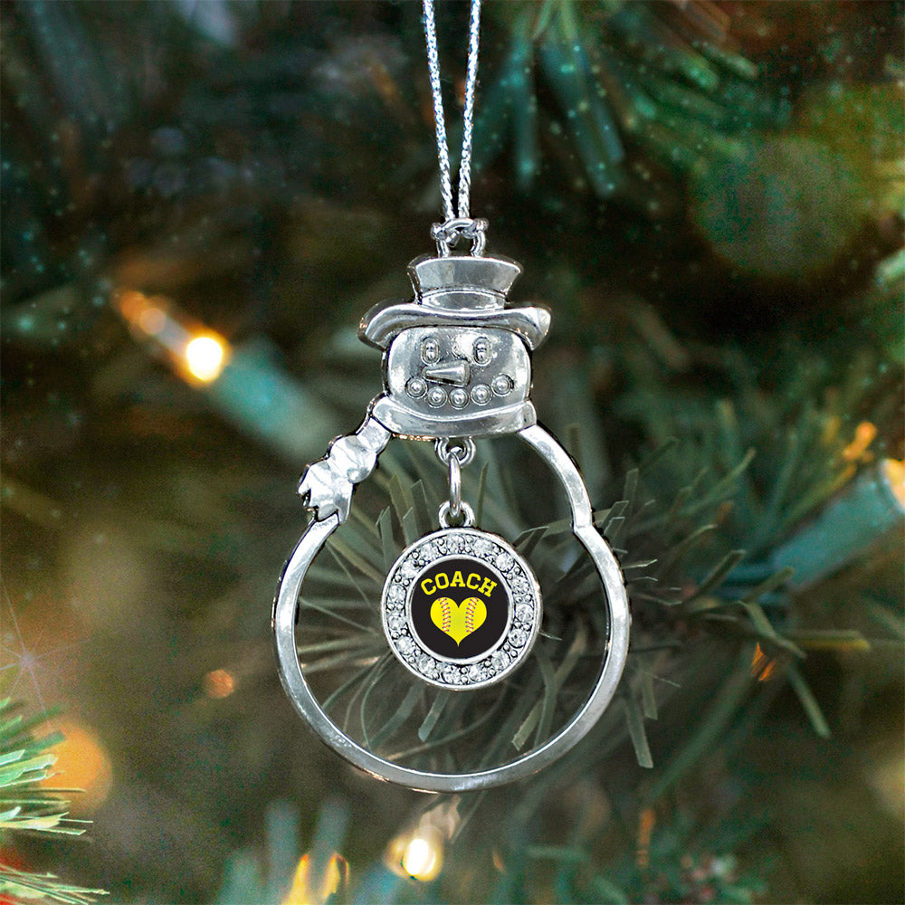 Softball Coach Circle Charm Christmas / Holiday Ornament