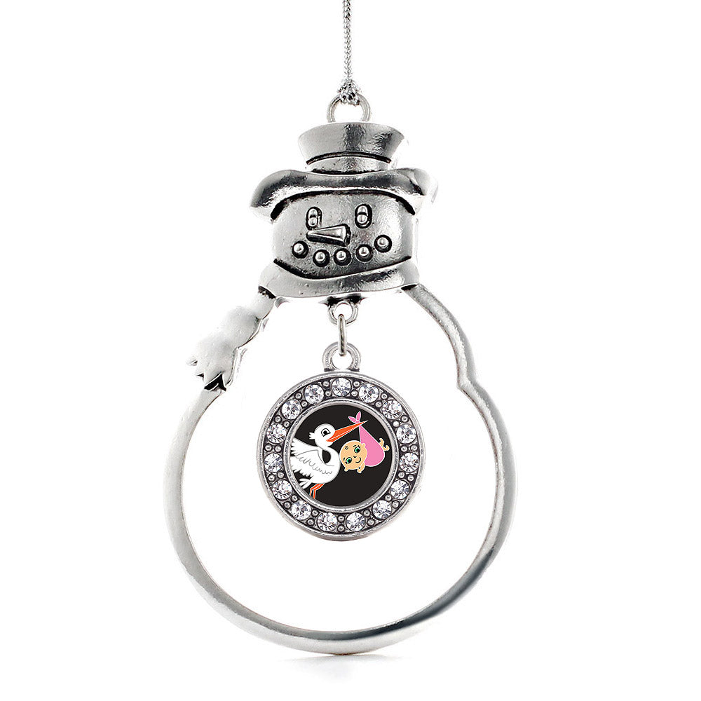 Stork Brings a Girl Circle Charm Christmas / Holiday Ornament