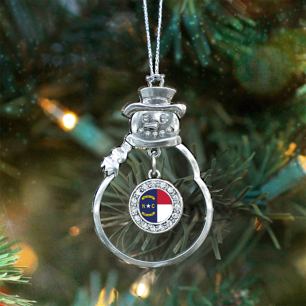 North Carolina Flag Circle Charm Christmas / Holiday Ornament