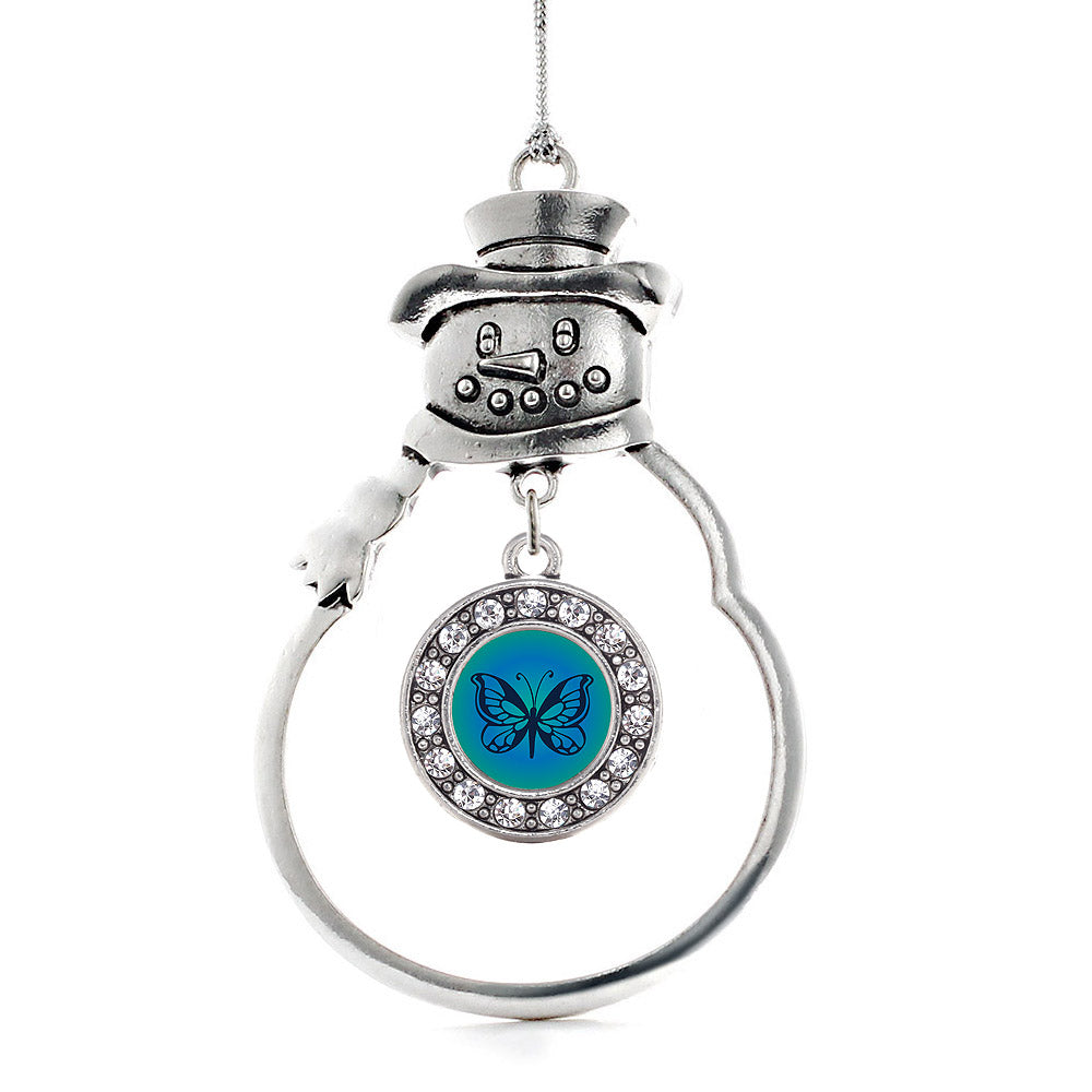 Blue Butterfly Circle Charm Christmas / Holiday Ornament