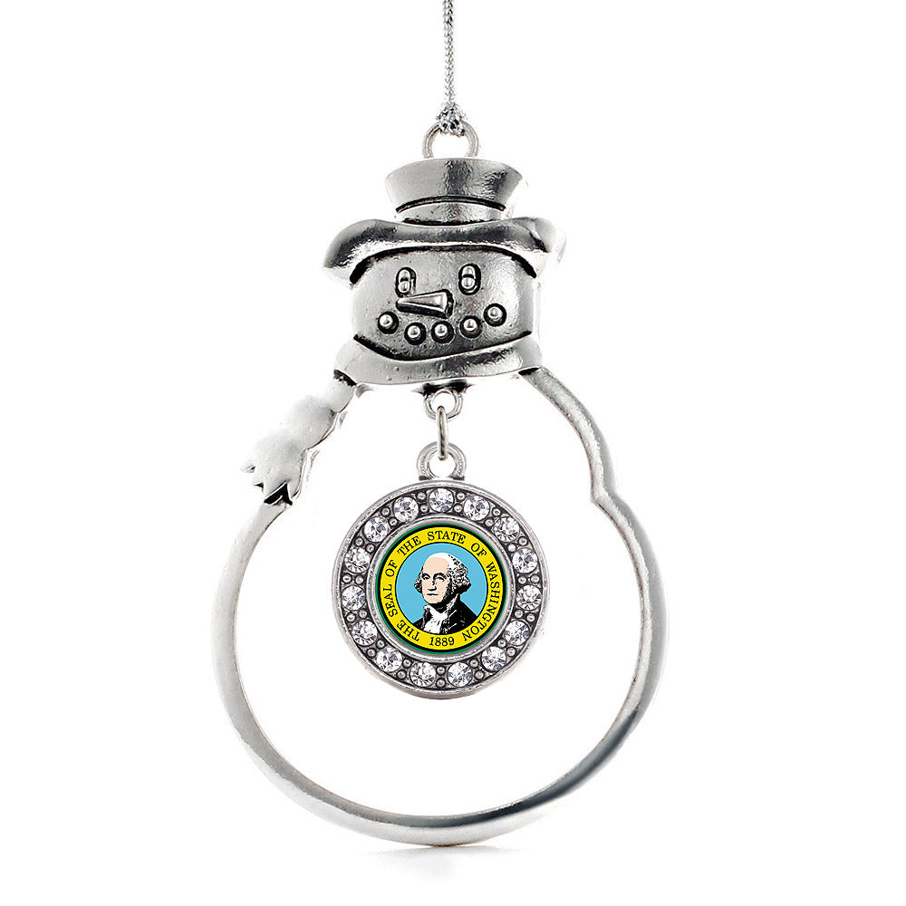 Washington Flag Circle Charm Christmas / Holiday Ornament