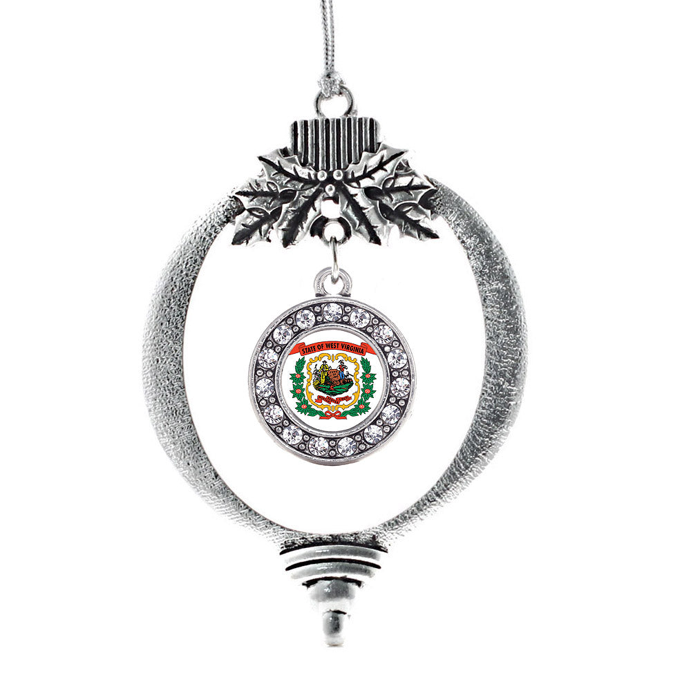 West Virginia Flag Circle Charm Christmas / Holiday Ornament