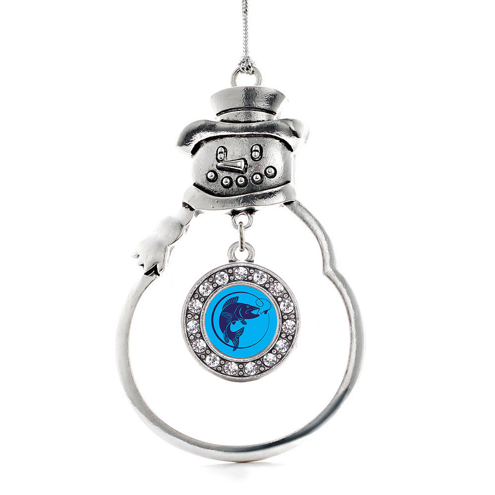 Blue Fishing Circle Charm Christmas / Holiday Ornament