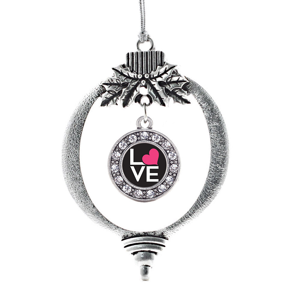 Love Heart Circle Charm Christmas / Holiday Ornament
