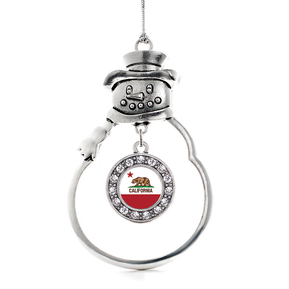 California Flag Circle Charm Christmas / Holiday Ornament