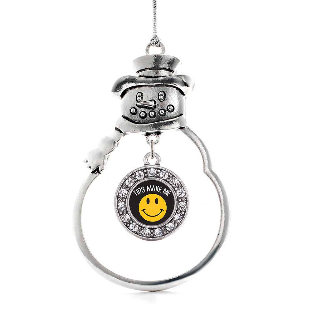 Tips Make Me Smile Circle Charm Christmas / Holiday Ornament
